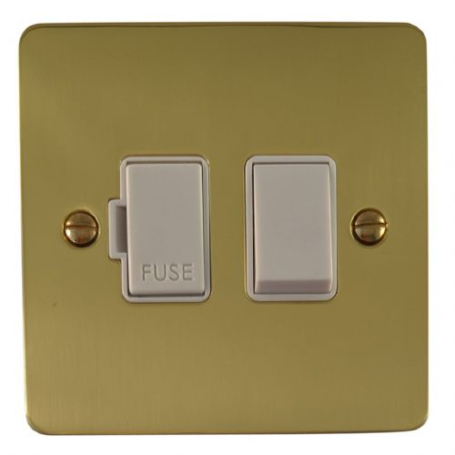 G&H FB57W Flat Plate Polished Brass 1 Gang Fused Spur 13A Switched